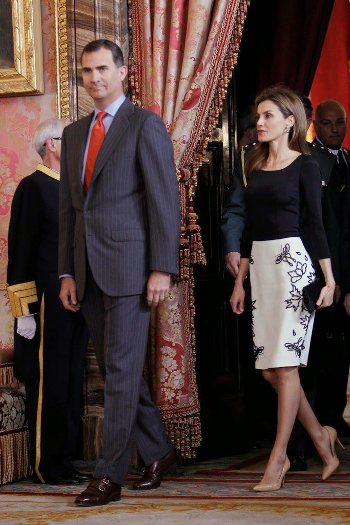 """22 April 2014 Spanish Royal Family attended the lunch in ocassion of the """"2013 Cervantes Award"""" at the Royal Palace in Madrid"""