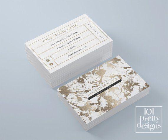 Gold Foil Business Card Template Makeup