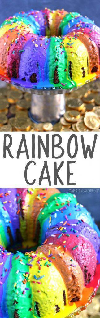 easiest rainbow cake ever!   everyone loved it! RAINBOW CAKE RECIPE #rainbowcake #bundtcake #dessert