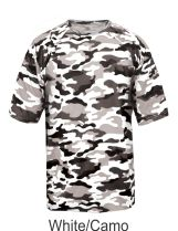Youth White / Camo Performance Tee 2181 by Badger Sport at GrahamSG.com