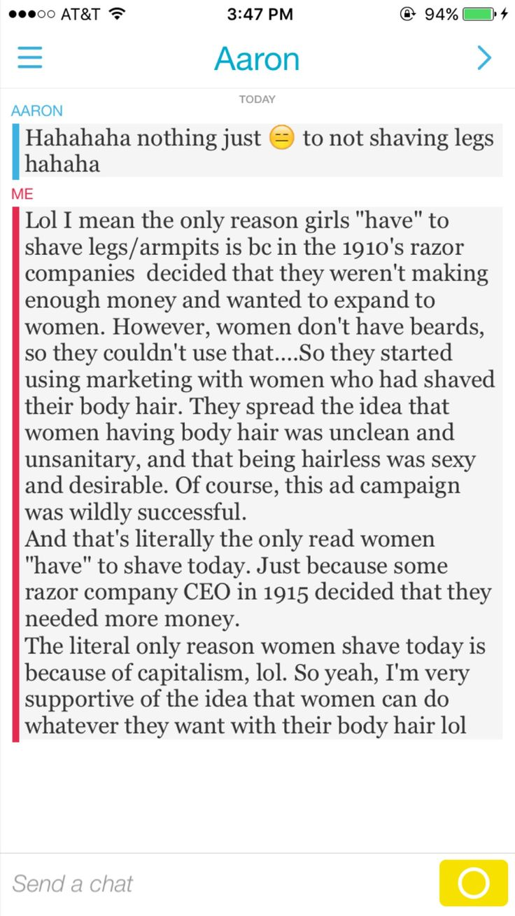 The only reason girls HAVE TO shave legs/armpits is because in 1910 razor companies thought they weren't making enough money. They spread the idea that women having body heair was unclean and being hairless was desirable. The only reason to shave is capitalism #Feminism #DoubleStandards #EveryDaySexism