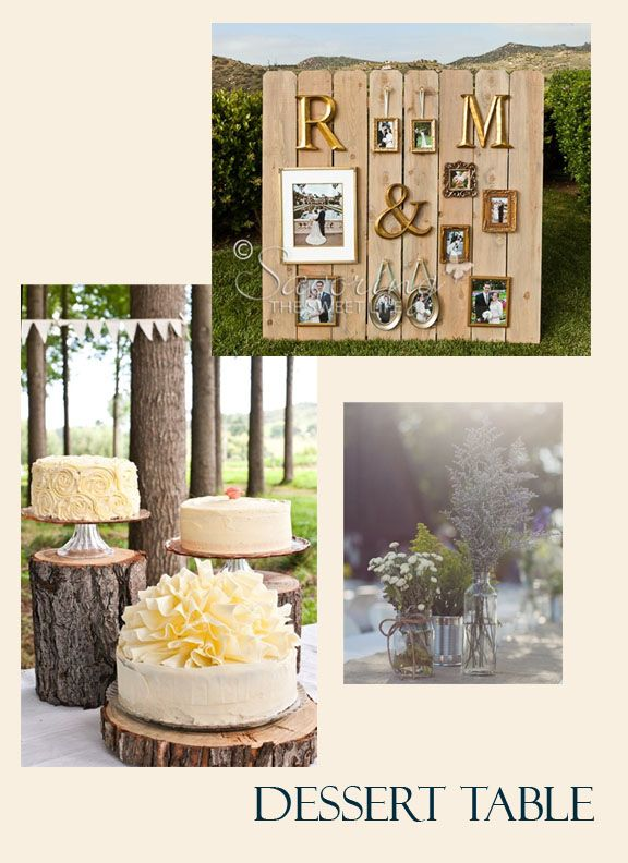 Tree stump stands used for dessert table, as well as added to long dining table for element height.  Reception photo display backdrop.  Wildflowers in mixed aluminum cans and glass jars.