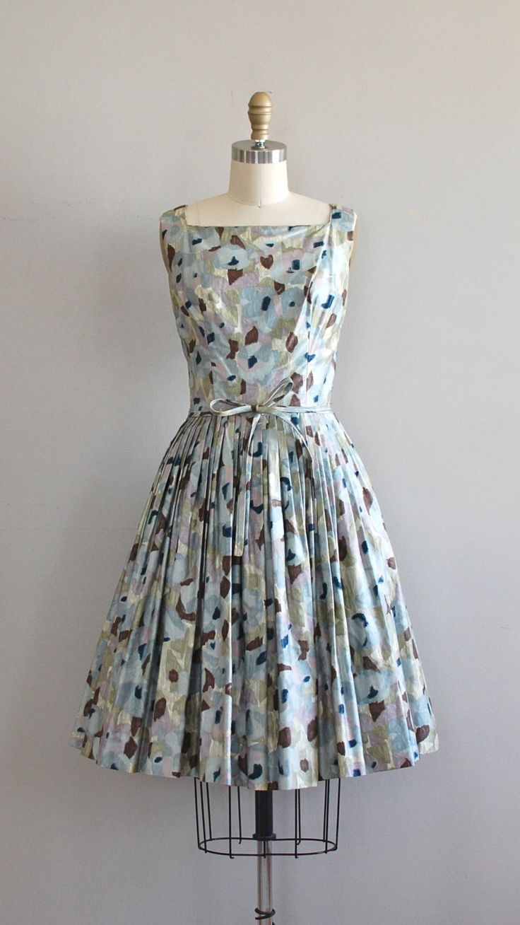 1950s dress / vintage 50s dress / Imaginary Maps dress- black and white would have been a better print