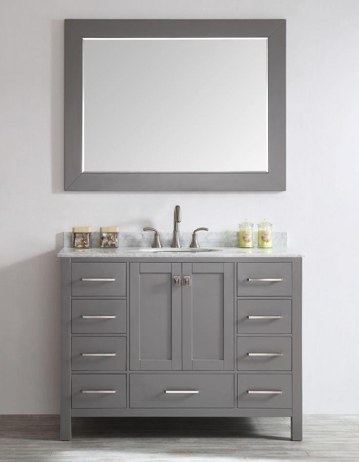 Inspiration Web Design Features Aberdeen collection Brushed nickel hardware included soft closing doors and Modern BathroomsModern Bathroom VanitiesGrey