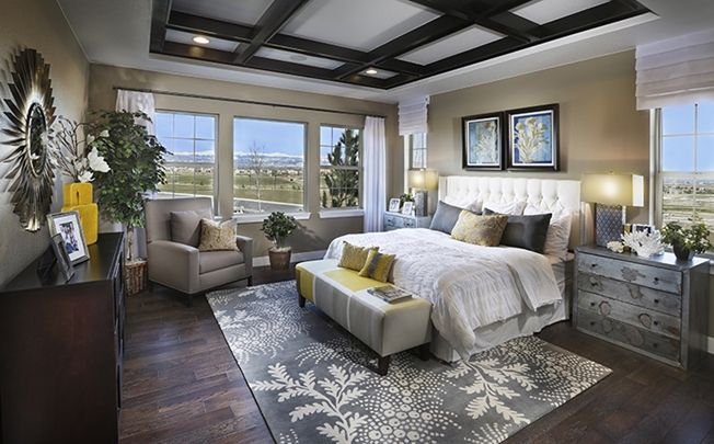 Master bedroom gorgeous and love the ceiling and windows