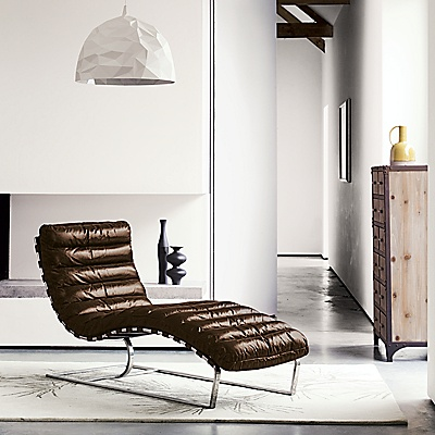 Halo Joel Chaise Brown Chaise Furniture Leather Chaise