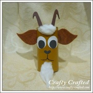 Cute one to use with the Three Billy Goats Gruff....DIY Goat toilet paper roll craft for kids