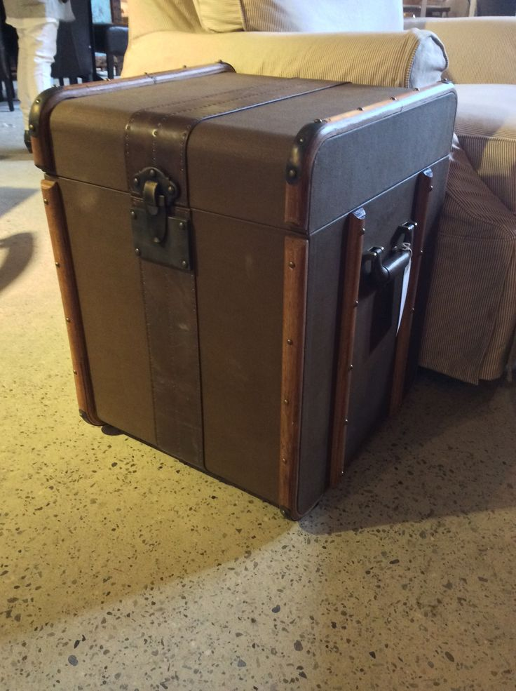 Shawn picked The Global Trunk for it's handsome wood trim and canvas covered body, which evokes the discerning elegance of the luxury steamship traveler. $845.00 | Cornerstone Home Interiors