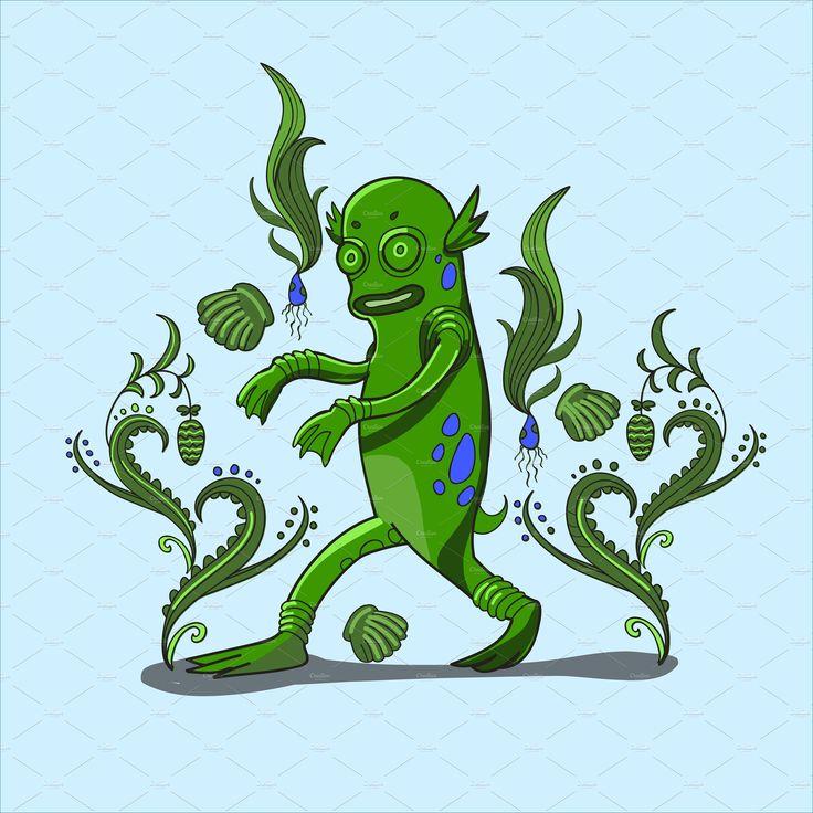 Swamp monster illustration by HIPSTER-MONSTER SHOP on @creativemarket