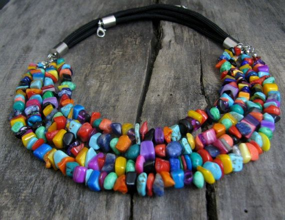 Colorful necklace  Multi strand colorful necklace Womens