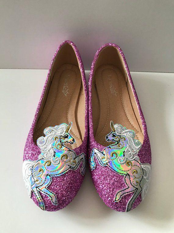Flat unicorn shoes Flat glitter shoes
