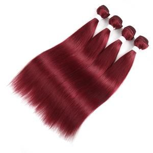 Human Hair Bundle With Closure Color Wine Red Burgundy