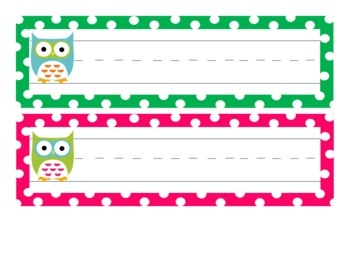 Green, pink, and owl name tags for desks or cubbies!...