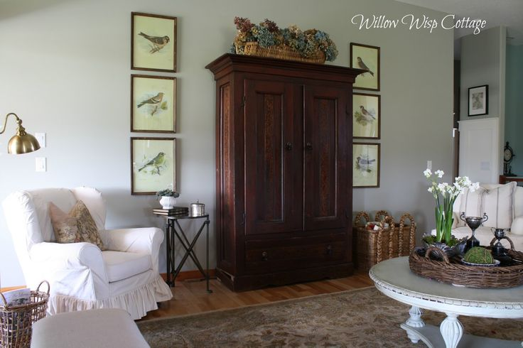 I have been working with Andrea from Willow Wisp Cottage blog in Canada (online of course) and it has been so much fun. Her living, dining and kitchen area are all open and so it really needed to flow. She had the wonderful armoire and rug and she painted the coffeetable. I suggested she add the …