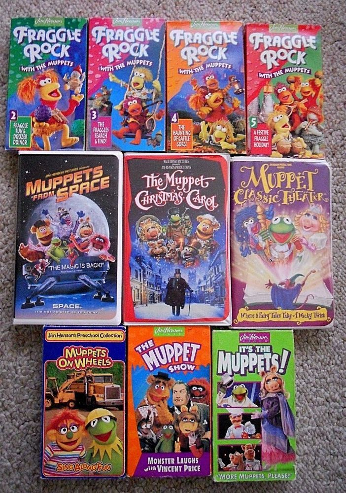 Lot 10 VHS Tapes VIDEOS Muppet It's the Muppets Fraggle Rock on Wheels Disney