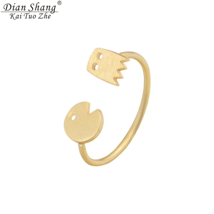 DIANSHANGKAITUOZHE Boho Jewelry Gold Plated Toe Ring Silver Stacking BFF Bijoux Bague Femme Anel Pokemon Pacman Rings For Couple