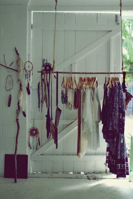 rope + wood stick exposed closet