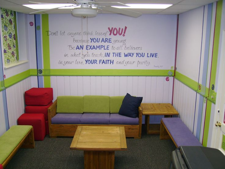 striking youth group room designs with colorful sofa and simplistic long chairs also white wall color