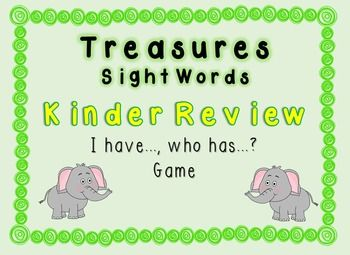 This game uses words from Treasures Kinder Review sight word list. Pass out the word cards to the students (some students may receive more than one word depending on how many students you have).Students will read their card (ex. I have AND, who has THE?)The student in the room who has the card that reads: I have THE, who has (next word) will raise their hand and read their card and the cycle will continue until the last word.This set includes various options for the ending card so that you…