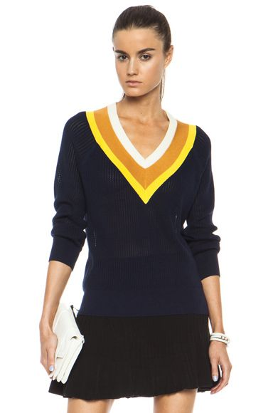 BAND OF OUTSIDERS | Stripe Tennis Knit Sweater in Navy