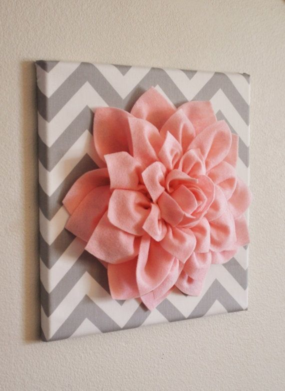 Adorable DIY Wall art: Adorable Diy, Canvas, Diy Wall Art, Baby, Wall Flowers, Wall Art Lov, Felt Flowers, Fabrics Flowers, Girls Rooms