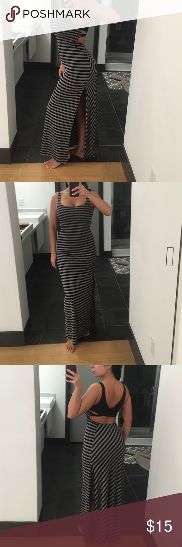 Striped maxi dress Black and gray. Cotton Venus Dresses Maxi
