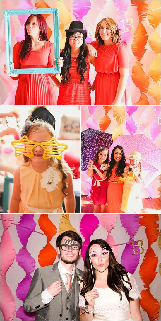 diy photo booth fun. use brightly colored streamers or ribbons as a background