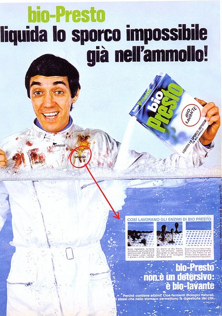 Pubblicità detersivo Bio Presto 1960 Testimonia Gianfranco Cerri
