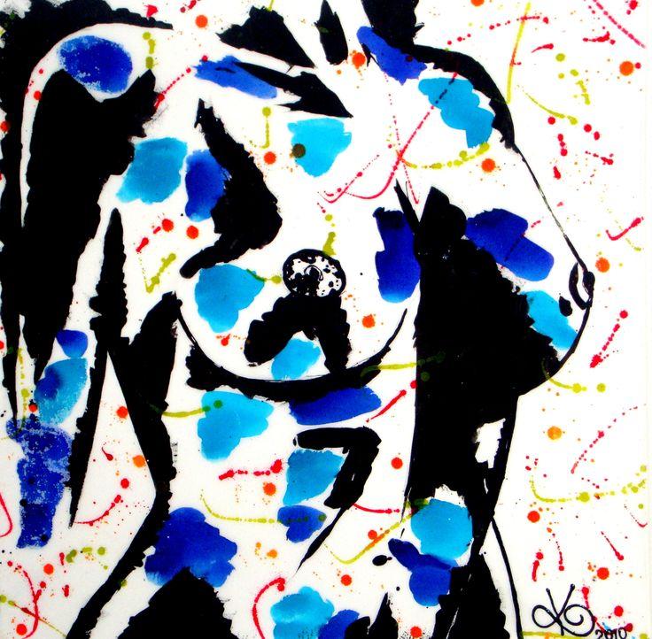 "INK WOMAN Ink on canvas 76cmx76cm (24""x24"")"