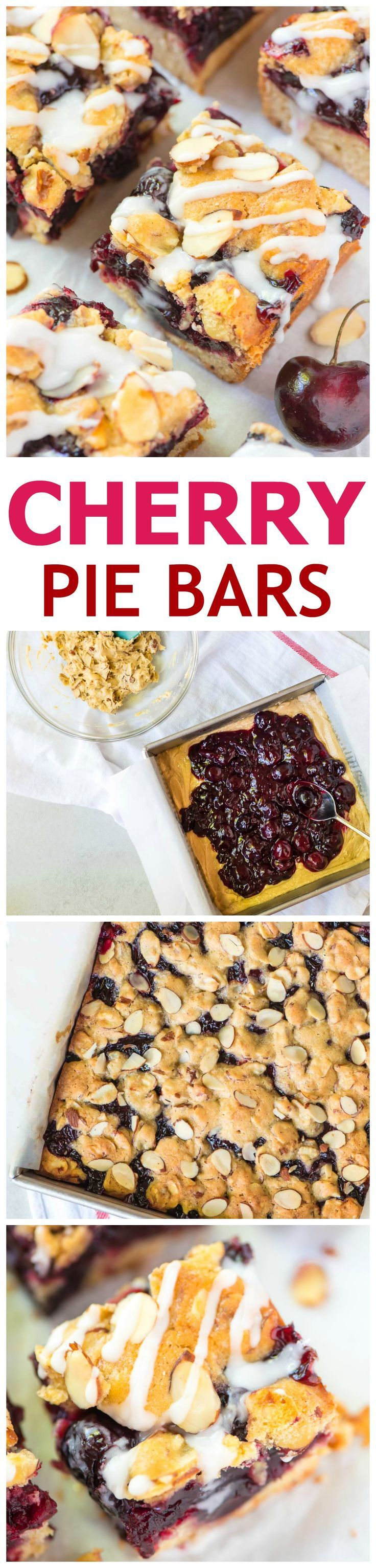 Cherry Bars — a cross between a pie bar and a crumb bar, this recipe for cherry pie bars is THE BEST! Layers of buttery shortbread bursting with sweet cherry filling, with more buttery crumbs and almond glaze on top. Everyone loved these easy dessert bars! @Well Plated