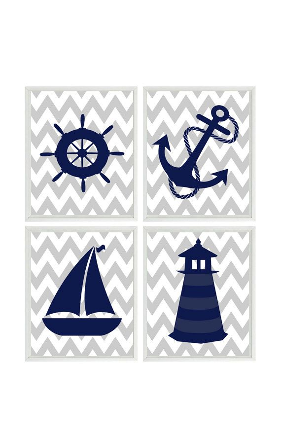 Nautical Nursery Art Print Set - Navy Blue Gray Chevron Decor - Lighthouse Anchor Sailboat Wheel - Wall Art Home Decor Set 4 Set of 4 Prints (Frames not included) You can customize print to your own color choices or use above color selection. Make them all the same color or all different. Color choices are show above the object in print. How To Customize: ********************* When checking out, please leave me a message in the Note To Seller section. Please let me know the color you wo...
