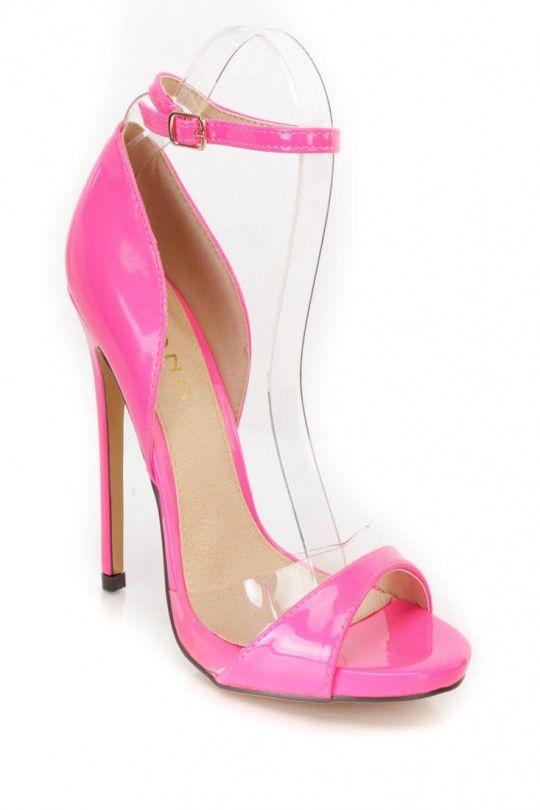 f75c10be44b Neon Pink Peep Toe Single Sole High Heels Patent