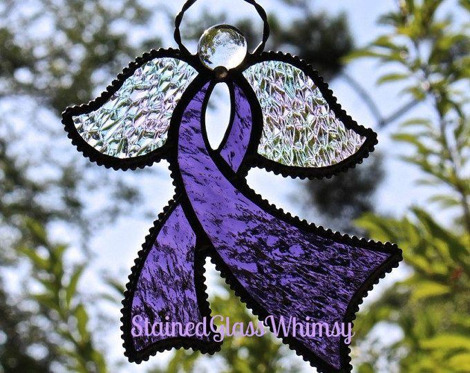 Stained Glass Awareness RIBBON ANGEL Suncatcher, Amethyst / Grape Purple, Rainbow Iridescent Wings, USA Handmade, Purple Ribbon Angel
