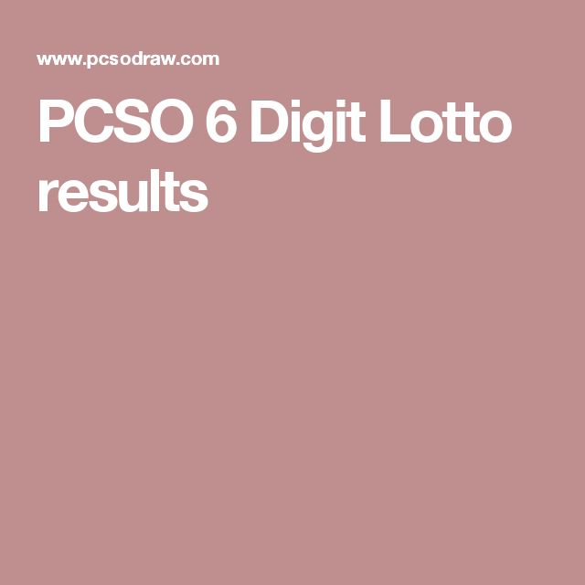 PCSO 6 Digit Lotto results