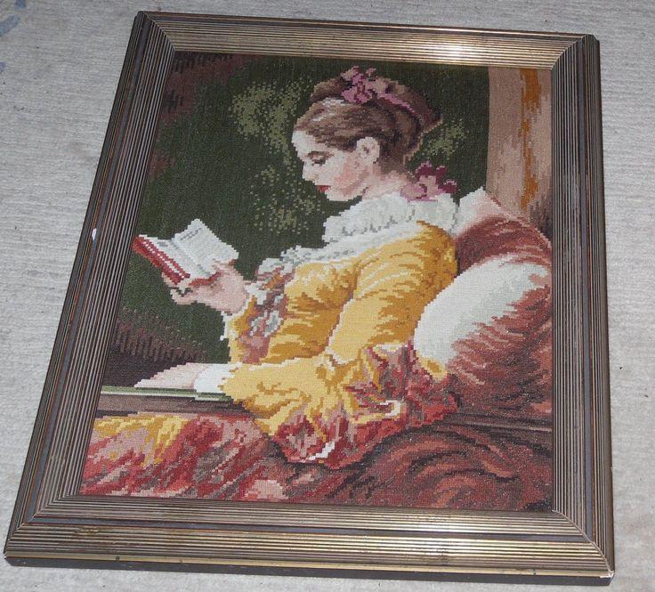 """Wiehler Gobelin """"Lesendes Mädchen"""" 51 x 43 cm 9 Stiche 1cm Rahmen Verglast   eBay"""