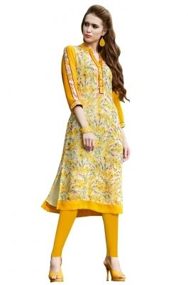 Digital Printed Faux Georgette Kurti- Look fresh and elegant in this one of a kind multicolor faux georgette tunic. The tunic is done in unique summery digital print in floral pattern with button embellishments on the front placket. Be ready to charm onlookers in this chic and stylish attire.