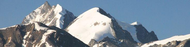Piz Bernina with its snowy ridge and Piz Roseg.