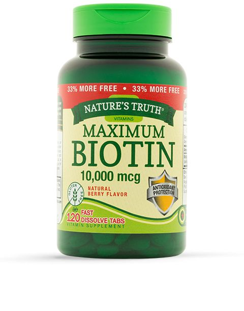 Biotin, also known as vitamin B-7, optimizes energy production in your body by helping to metabolize fats, carbs and proteins.* It is a supporter of nervous system health and plays a role in maintaining healthy hair, skin, and nails.* Nature's Truth® Ultra Biotin 5,000 mcg delivers these nutritious benefits straight to you in natural berry-flavored, fast-dissolve tablets.