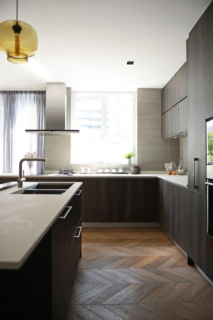 Moderne küchen innenarchitektur moderne küche design fischgräten etagen bodenmuster holzboden muster chevron muster küche designs farbe