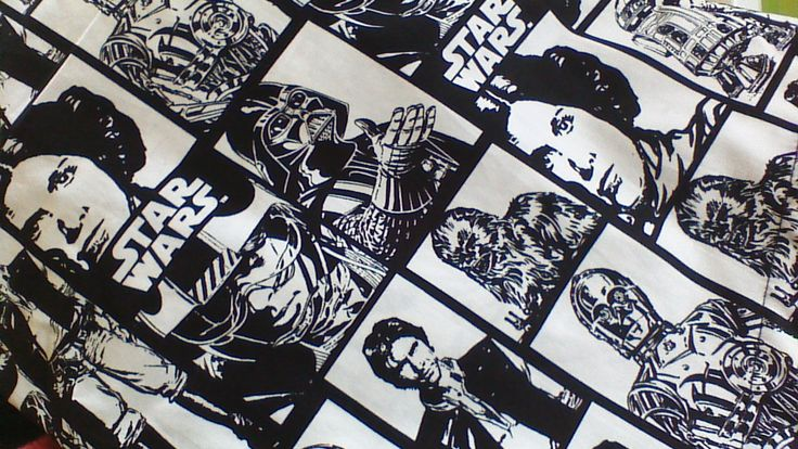 Star Wars B&W print fabric.  Currently available in Julie dresses.