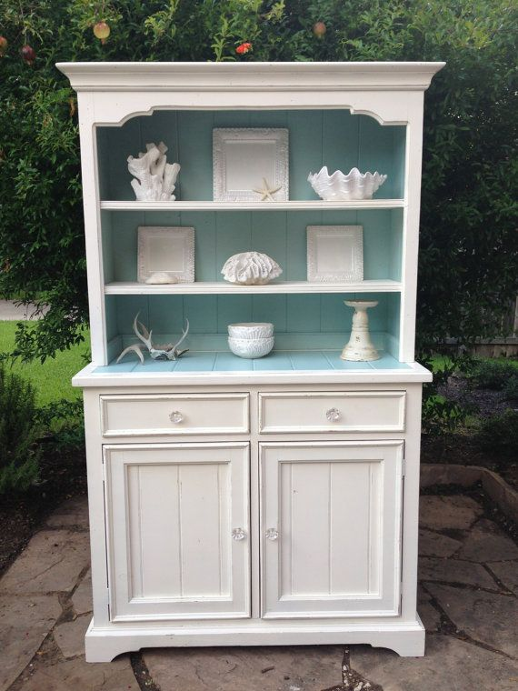 Hutch and Cabinetwhite with aqua blue by cameobliss on Etsy, $535.00
