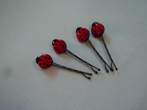 Set of 4 Lady Bug Hair Pins by cheerfuldianna80 on Etsy, $3.00