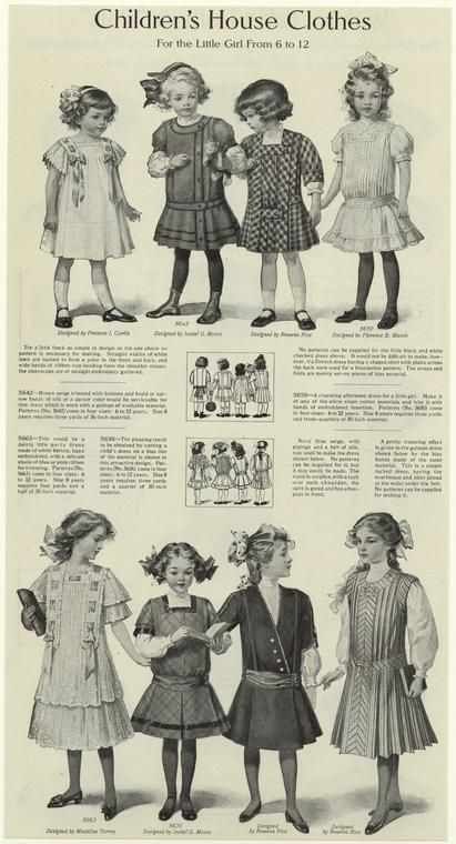 Children's house clothes for the little girl from 6 to 12.   (1910)