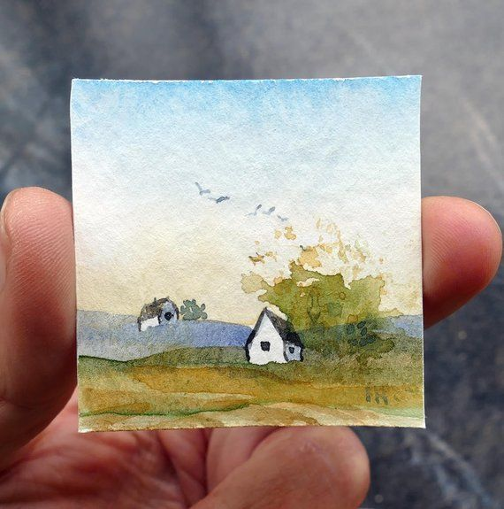 Dolls House Watercolor Painting Mini Landscape Tiny Aquarelle