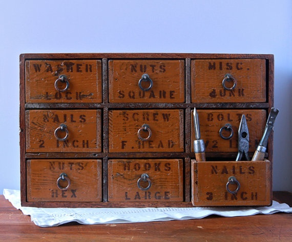 Multi Drawer Tool and Hardware Desk Organizer from by seelamade, $215.00