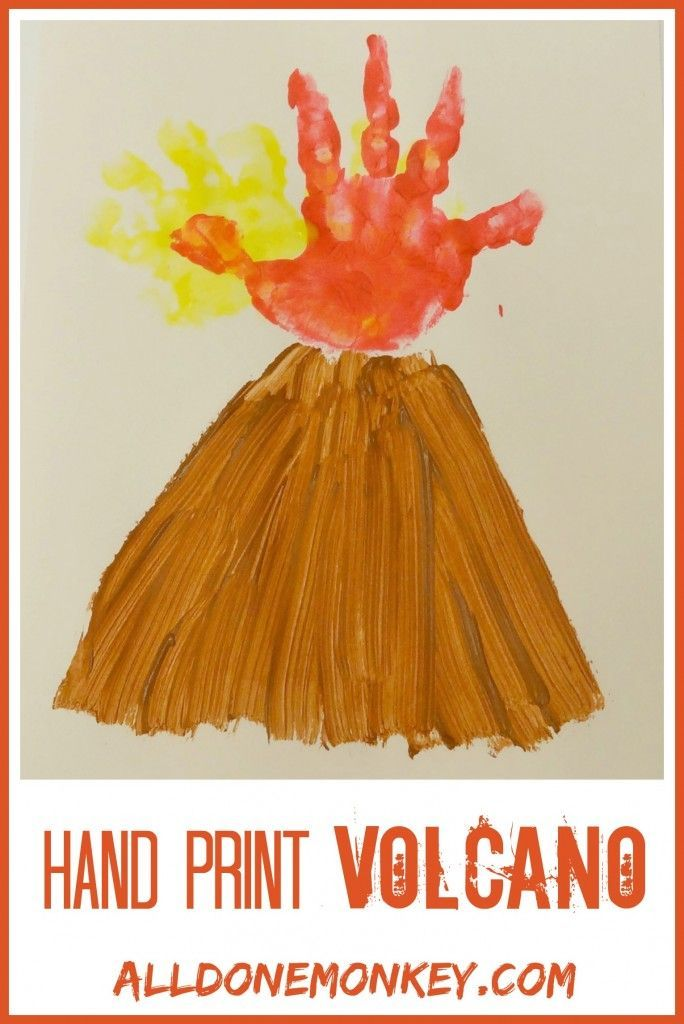 Good preschool - kinder art project based on a single hand print: Hand Print Volcano Card - Alldonemonkey.com Selected by Age of Learning