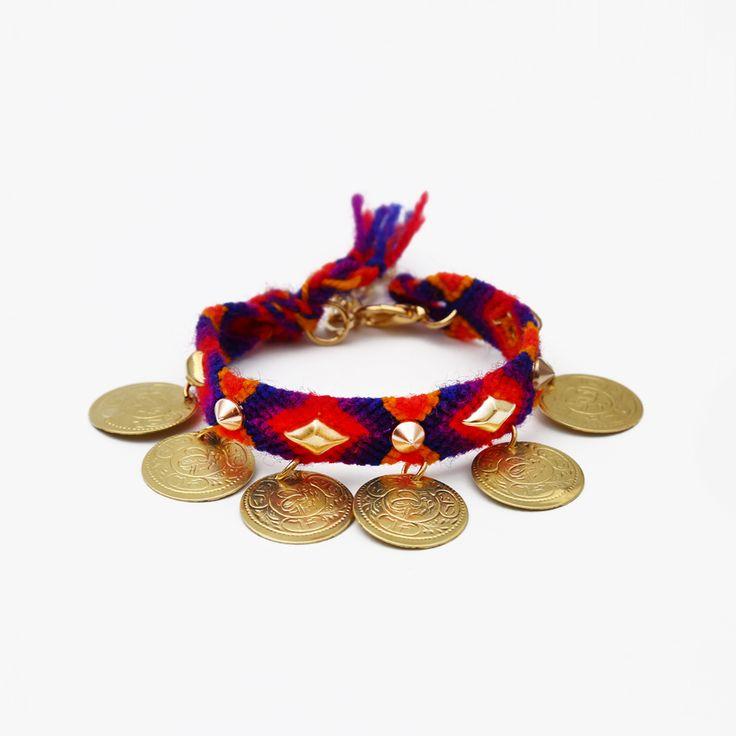 Boho Friendship Wristband with Coins by Hermina Wristwear - Project J