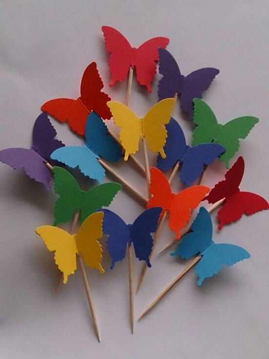 Rainbow Butterfly Party Picks Cupcake Toppers by AllAboutTheSnax