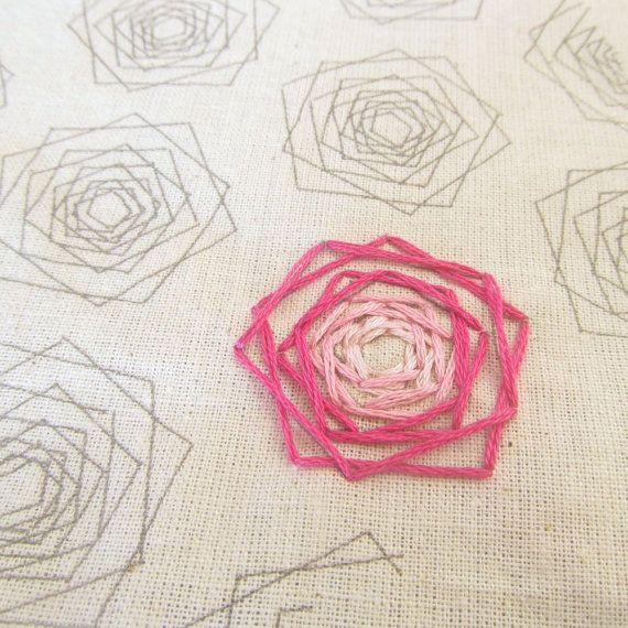Geometric Roses PDF Embroidery Pattern Modern by SweaterDoll