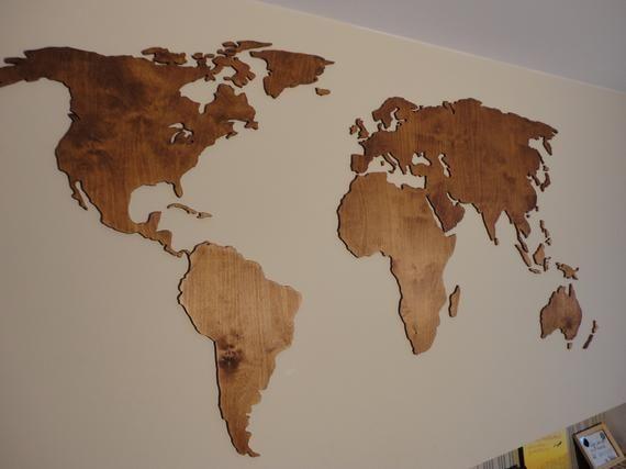 Wooden World Map 3d Wall Decor Hanging Decoration World Map Wall Art Map Wall Art Wood World Map